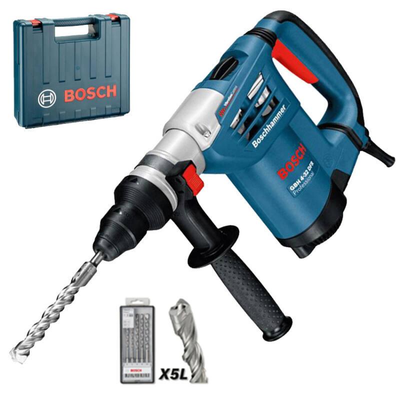 """Bosch SDS-Plus GBH 4-32 DFR fúrókalapács+ 5 részes """"Plus 7"""" fúrófej készlet+koffer+SDS-plus cseretokmány 0 611 332 100"""