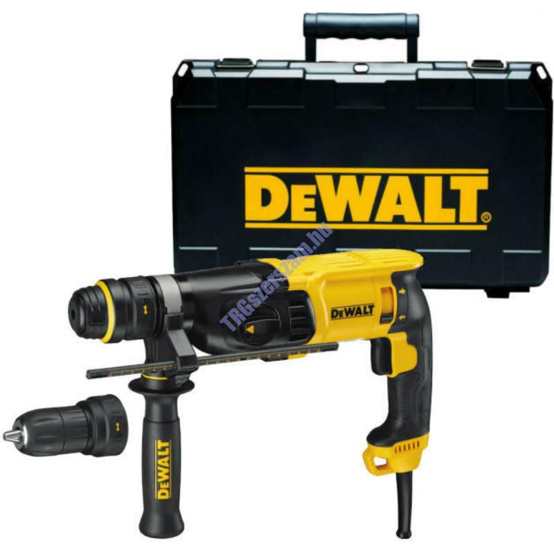 DeWalt SDS-Plus Fúrókalapács, SDS-Plus, 3-üzemmód, cseretokmány,26mm, 900W, 3.0J, koffer D25144K-QS